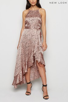 New Look Spot Ruffle Satin Wrap Midi Dress