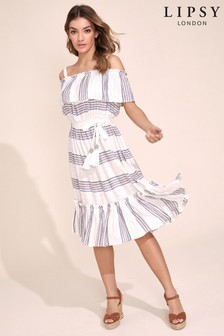 Lipsy Lurex Stripe Cold Shoulder Dress
