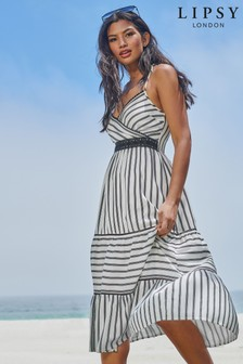 Lipsy Stripe Midi Tiered Dress