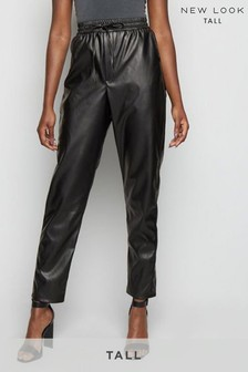 New Look Tall Coated Leather Look Joggers