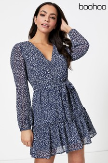 Boohoo Ditsy Print Tiered Long Sleeve Dress