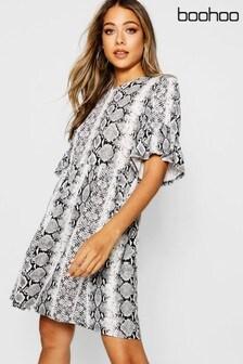 Boohoo Ruffle Sleeve Smock Dress