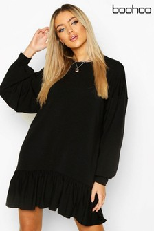 Boohoo Drop Hem Long Sleeve Sweatshirt Dress