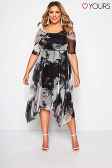 Yours Curve Marble Print Cowl Mesh Dress