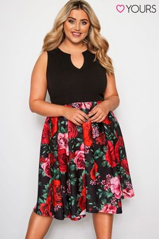 Yours Curve 2-in-1 Rose Skater Dress