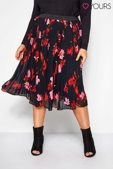Yours Curve Floral Midi Pleat Skirt