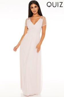 Quiz Embellished Cap Sleeve Maxi Dress