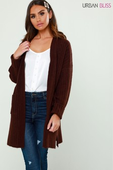 Urban Bliss Wide Rib Balloon Sleeve Cardigan