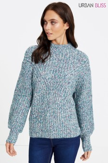 Urban Bliss Twist Ribbed Balloon Sleeve Jumper