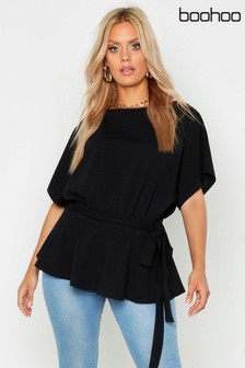 Boohoo Curve Slash Neck Tie Waist Peplum Hem Top