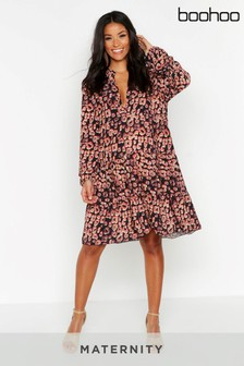 Boohoo Maternity Leopard Print Smock Dress