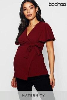 Boohoo Maternity Crepe Wrap Top