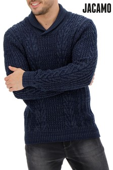 Jacamo Shawl Neck Cable Jumper