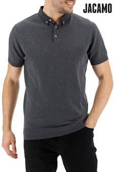 Jacamo Plus Size Woven Collar Knitted Short Sleeve Polo