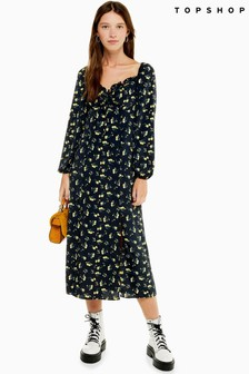 Topshop Floral Square Neck Dress