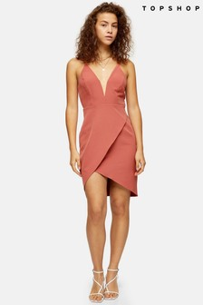 Topshop Plunge V neck Mini Dress