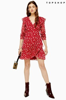 Topshop Floral Dobby Ruffle Mini Dress