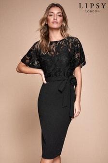 Lipsy Lace Top Self Tie Bodycon Dress