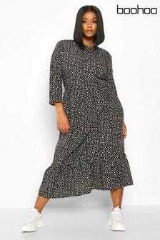 Boohoo Curve Polka Dot Ruffle Hem Midi Dress