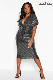 Boohoo Plus Sequin Kimono Sleeve Midi Dress