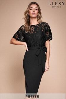 Lipsy Petite Lace Top Self Tie Bodycon Dress