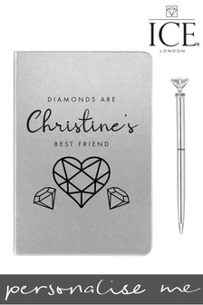 Personalised A5 Metallic Notebook Diamond Topper Pen By ICE London