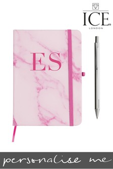 Personalised Marble A5 Notebook Metallic Pen By ICE London