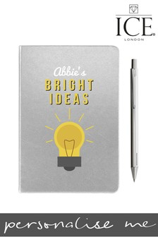 Personalised Silver A5 Notebook Metallic Pen By ICE London