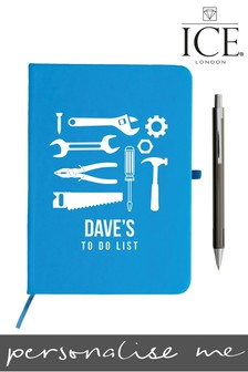 Personalised Blue A5 Notebook Metallic Pen By ICE London