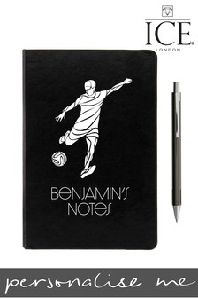 Personalised Black A5 Notebook Metallic Pen By ICE London