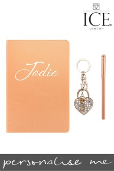 Personalised A5 Metallic Notebook Heart Locket Keyring Swarovski Tipped Clip Pen By ICE London