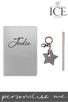 Personalised A5 Metallic Notebook Star Locket Keyring Swarovski Tipped Clip Pen By ICE London