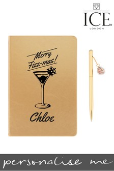 Personalised A5 Gold Notebook Bauble Bauble Pen By ICE London
