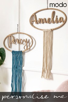 Personalised Macrame And Wood Name Wall Hanging by Modo Creative