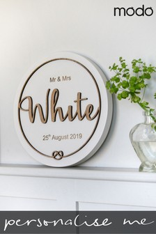 Personalised Wooden Wreath Wedding Plaque By Modo Creative