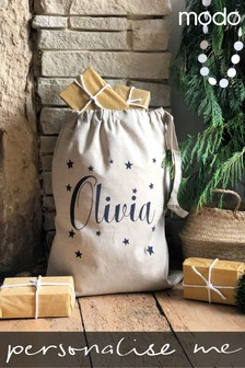 Personalised Name And Star Linen Sack By Modo Creative