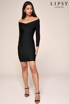 Lipsy Long Sleeve Bardot Bandage Dress