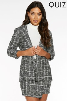 Quiz Check Print Three-Quarter Sleeve Blazer