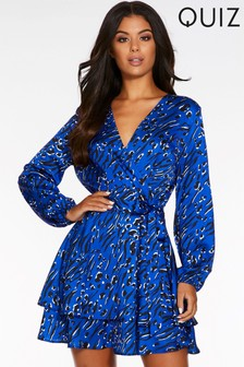 Quiz Animal Print Long Sleeve Wrap Front Dress
