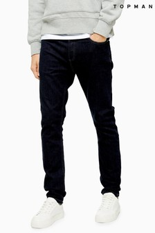 Topman Raw Denim Stretch Skinny Jeans