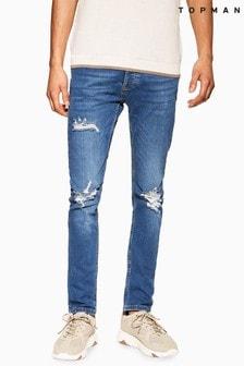Topman Mid Wash Rip Skinny Jeans
