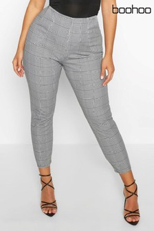Boohoo Plus Dogtooth Check Skinny Trouser