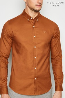 New Look Bee Embroidered Muscle Fit Oxford Shirt