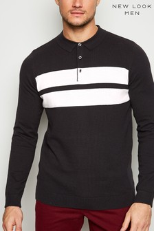 New Look Colour Block Long Sleeve Polo Shirt