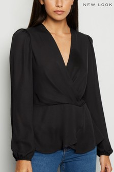 New Look Chiffon V neck Twist Front Blouse