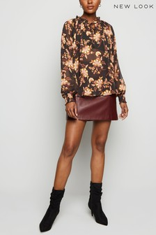 New Look Floral Chiffon Frill Tie Neck Blouse