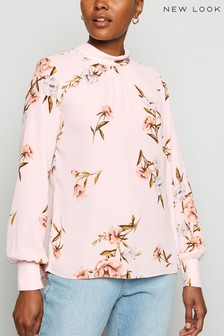 New Look Floral Chiffon Roll Neck Blouse