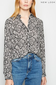 New Look Snake Print Long Sleeve Shirt