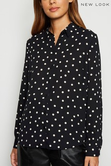 New Look Chiffon Spot Long Sleeve Shirt