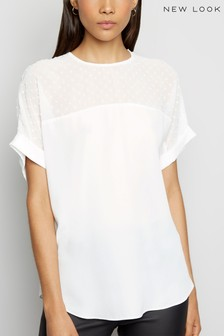 New Look Chiffon Spot Shirt